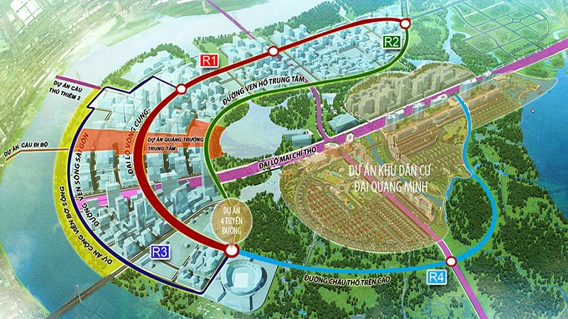 Bản đồ quy hoạch 4 tuyến đường chính Thủ Thiêm.